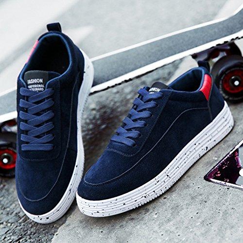 Homme Baskets De Sport Basses Fitness Plate Marche Skateboard Sneakers Chaussures Bleu