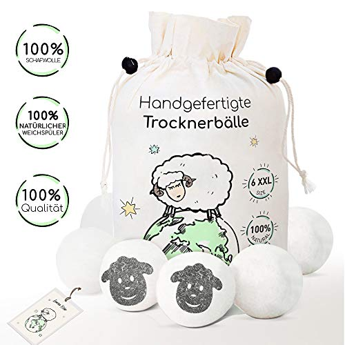 6 XXL Trocknerbälle aus 100% Schafwolle - Der Natürliche Weichspüler für Wäschetrockner - Trockner Ball für Daunenjacke - Filzbälle und Trocknerkugeln - Zubehör für Wäsche gegen Fussel -