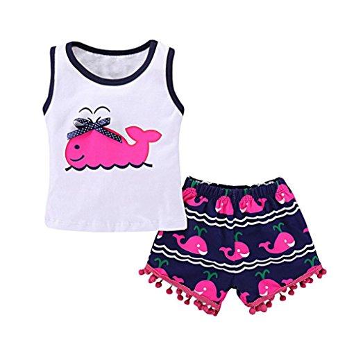 Bonjouree Shorts Et T-Shirt Fille Hauts Sans Manches Courtes Imprimé Baleine Et Pantalon à Gland Ete pour enfant Fille 1-5 Ans (Rose Vif, 5 Ans)