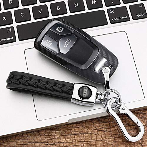 Kwak's FancyAuto Étui pour clé en Fibre de Carbone Compatible avec clé de Voiture Audi 16 17 A4L A4 A5 TT S5 (Noir, Noir)