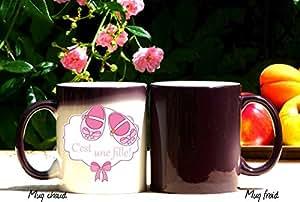 mug naissance : c'est une fille, mug magique, mug cadeau