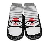 Per bambini indoor pantofola calze Moccassini antiscivolo grigio Stripe Penguin Grigio Grey