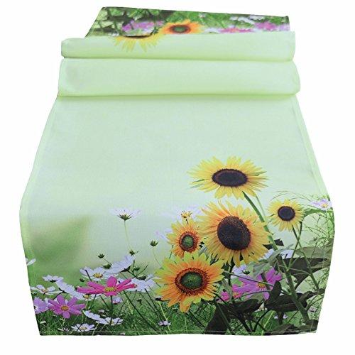 Tischdecke 85 x 85 cm bedruckt Blumenwiese Herbstdeko Sonnenblumen Mitteldecke grün bunt