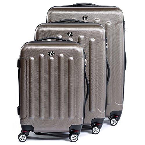 FERGé ensemble de valise (set de 3) LYON - 3 pièces de bagages avec 4 roues 360à° café en ABS rigide et léger