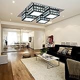 HuaJing® LED Lámpara de techo cristal moderna simple y elegante de 4 piezas para sala de estar, LED Lámpara de techo acrílica para dormitorio (Negra)