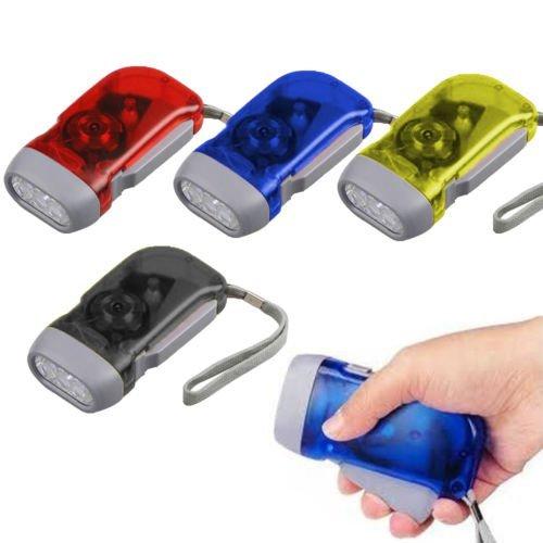 Taschenlampe zum Aufziehen mit der Hand, wiederaufladbar, mit 3 LEDs, klein, keine Batterien erforderlich – Sport, Radfahren, Camping, Wandern