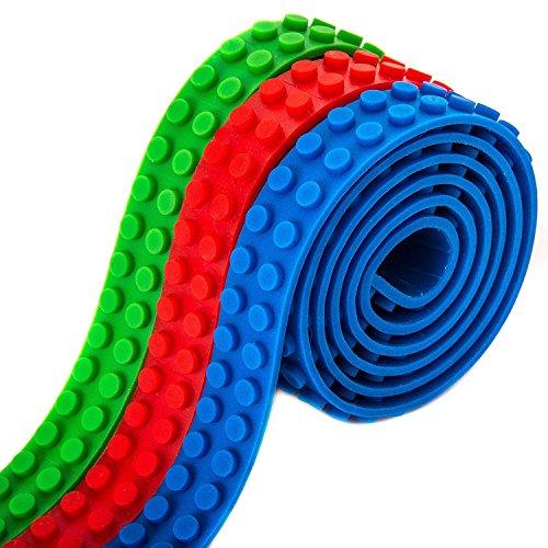 Preisvergleich Produktbild 3 Rollen Bausteine Klebeband für Lego, YOUFAN Lego Blocks Klebeband mit selbstklebender Rückseite, Silikon Bausteine Bastelset Klebeband für Lego, 3 Farben 3 Fuß von jedem