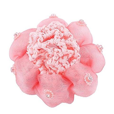 sourcingmap® Lady Rhinestones Decor Flower Ponytail Holder Snood Bun Cover Hair Net Salmon Color