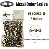 rojwei - 100 llaveros de Cadena de Bolas de Colores metálicos, Cadena de 10 cm de Largo, tamaño de Cuenta de 2,4 mm, con un Conector de Cadena de Cuentas. (Metal Colors)