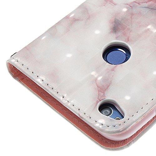 Marmor Stein Grain Texure Pattern PU Ledertasche Cover, Retro Bookstyle Flip Stand Case mit Magnetverschluss & Card Slots & Lanyard für HUAWEI Hornor 8 Lite (P8 LITE 2017) ( Color : F ) D