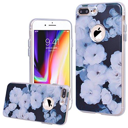 WE LOVE CASE Coque iPhone 8 Plus, Souple Gel Coque iPhone 8 Plus Silicone Motif Fine Coque Girly Resistante, Coque de Protection Bumper Officielle Coque Apple iPhone 8 Plus Vert Noir