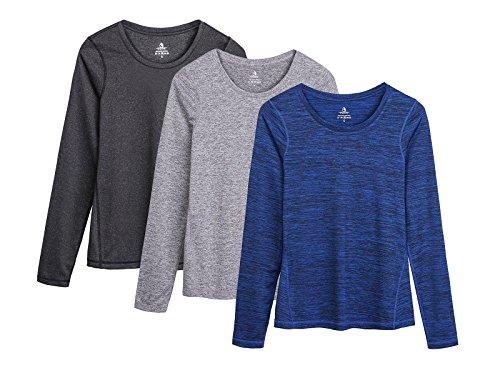icyzone Damen Laufshirt Langarm T-Shirts atmungsaktive Funktionsshirt für Sport Fitness (Black Heather/Granite/Royal Blue, S)