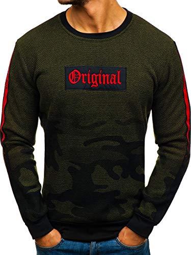 BOLF Herren Sweatshirt ohne Kapuze Pullover mit Aufdruck Pulli Rundhalsausschnitt Sport Casual Style RED Fireball HY298 Grün M [1A1] | 05902646918426