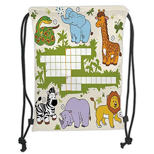 LULUZXOA Gym Bag Printed Drawstring Sack Backpacks Bags,Word Search Puzzle,Colorful Crossword Game for Children Wild Jungle Safari Animals Grid Decorative,rin (Carnival Kid Games)