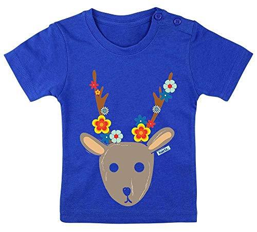 Dschungel König Baby Kostüm - HARIZ Baby T-Shirt Süßer Hirsch Süß Tiere Dschungel Inkl. Geschenk Karte Royal Königs Blau 3-9 Monate / 60-69cm