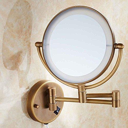 Miroirs Salle de Bains de Maquillage LED Lampe Mur Pliage Télescopique Salle de Bain Double Face Dressing Punch Gratuit (percé ou sans Punch) avec LED Light 8 Pouces (20cm de diamètre)