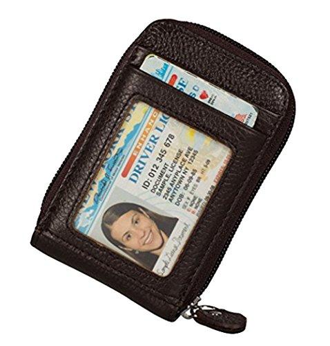 Clci Kreditkartenetui mit RFID Blocker Echtes Leder Geldbörse Card Case für Damen und Herren (Coffee) (Card Clip Id-money Case)