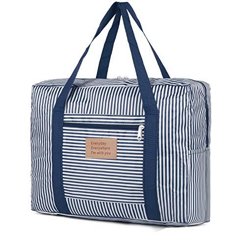 Faltbare Reisetasche weitermachen Seesack Weekender über Nacht Sport Gym Duffle Bag für Frauen und Mädchen (Blau-1)