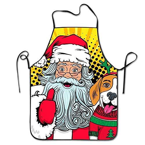 Kind Deluxe Santa (Drempad Schürzen Santa Claus Hugs Dog Pop Art Deluxe Aprons Personalized Printing Kitchen Apron)