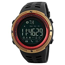 Skmei Bluetooth Mens Sports Smart Watch Android Ios 5atm Diver Waterproof Health Calorie Pedometer Fitness Monitor Tracker Watch Men Gift (Red Gold)