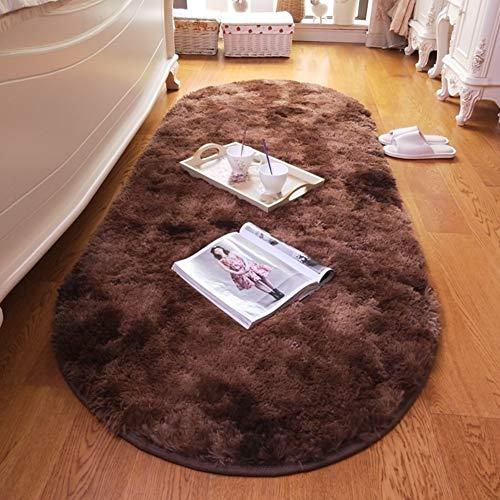 Love House Fluffy Shag Teppich, Super Weich Plüsch Langflor Teppiche Für Schlafzimmer Wohnzimmer Kindergarten, Gemütliche Oval Bay Fensterpad,betttisch Teppich Matte-Brown 130x190cm(51x75inch) -