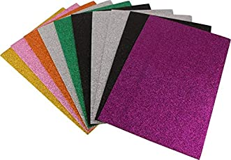 KABEER ART Pack Of 10 A4 Size Eva Foam Glitter Sheets - For Crafts, Home. Office, Party Decorations