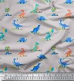 Soimoi Grau Baumwoll-Popeline Stoff Ballon & Dinosaurier Kinder Stoff drucken Meter 56 Zoll breit