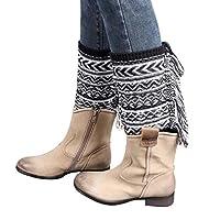 Morecome Jacquard Tassel Knitted Leg Warmers Socks Boot Cover (Black)
