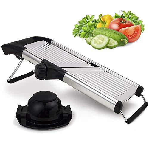 JFJL Verstellbarer Edelstahl-Mandolinen-Allesschneider für Zuhause und den professionellen Gemüse Zwiebel Kartoffel Chip Pommes Frites Julienne Slicer