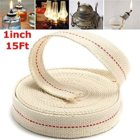 EsportsMJJ 1 Inch Flat 15 Foot Cotton Wick For Oil Lamps and Lanterns 4.5M Length