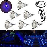 Spot à Encastrable Lampe de sol-Lumière(Bleu) étanche IP67 0.4W Ø19mm-éclairage pour terrasse, patio, chemin, mur, jardin, décoration, intérieur et extérieur(Lot de 6)