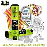 KNIXS Knicklichter inkl. 200x 3D, 4X Kreisverbinder, 4X 7-Loch-Verbinder im 6-Farb-Mix, in Profiqualität für Party, Festival, Geburtstag oder als Dekoration, geprüfte Markenqualität