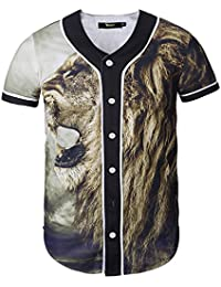 Pizoff Herren Lässig Hip-Hop T-Shirts Tops mit Knöpfen und Bunt Muster