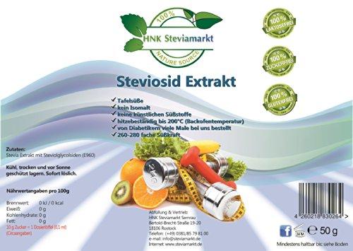 Preisvergleich Produktbild Stevia Extrakt Pulver (Steviosid) rein weiß 50g