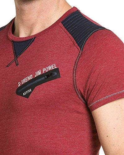 BLZ jeans - Bordeaux Mann T-Shirt gesteppte und Reißverschluss Fantasie Rot