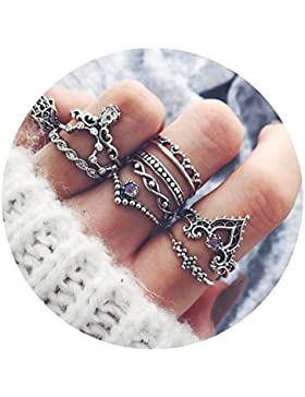 AMDXD 10 Stücks Ringset Damen Krone Buddha Lila Zirkonia Midi Ring Silber Ringe Set Vintage