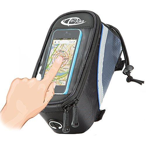 TecTake Handy Rahmentasche Oberrohrtasche wasserabweisend Navigation Halterung für Fahrrad - diverse Farben und Größen - Schwarz-Blau | Größe M | Nr. 401609