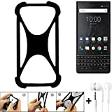 K-S-Trade Handyhülle für BlackBerry KEY2 (Dual-SIM) Schutzhülle Bumper Silikon Schutz Hülle Cover Case Silikoncase Silikonbumper TPU Softcase Smartphone, schwarz (1x), Headphones