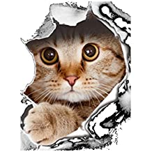 OUNONA Katzen-WC-Sitz-Aufkleber-Badezimmer-Tapete-Abziehbild Abnehmbare PVC-Wand-Aufkleber für Hauptdekoration (Art-14109)