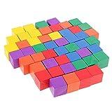 MagiDeal 50 Stück Bunte Holzpuzzle Holz Blöcke/Würfel für Kinder ab 3 Jahre, Kreatives Diy Spielzeug
