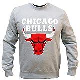 CHICAGO BULLS - MITCHELL & NESS CREWNECK - TEAM LOGO - GRAPHITE