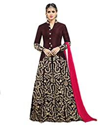 AnK Women's Banglori Silk Satin Embroidered Anarkali Semi Stitched Salwar Suit