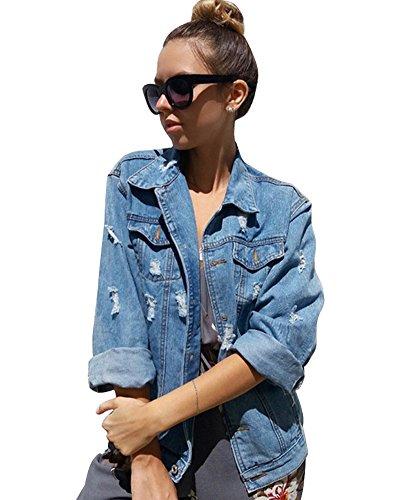 Minetom Damen Jeans-Jacke mit Patches Blouson Knopfverschluss Cut-outs Denim Jacket A Hellblau DE 44 (Leder-jacke Cut)