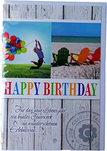 m Geburtstag - Happy Birthday - Freude/Strand - Mehrfarbig - mit Briefumschlag ()