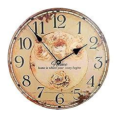 Idea Regalo - Tinas Collection Orologio da Parete, Orologio Shabby Chic da Parete, Orologio Muro, Orologio per Cucina (Fiori)