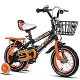 Kinderfahrräder , 2-9-jähriges Kinderfahrrad, Jungen-Mädchen-Pedal-Dreirad, Rahmen aus kohlenstoffarmem Stahl, Silent Flash Assist-Rad, 4 Größen (12 Zoll / 14 Zoll / 16 Zoll / 18 Zoll) Orange