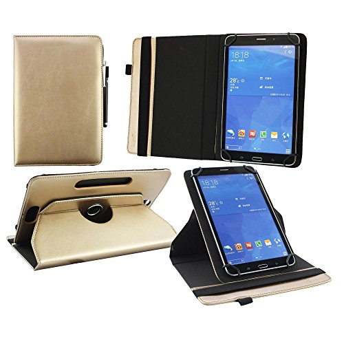 Emartbuy® 360 Degree Rotating Stand Folio Wallet Case Cover for Galaxy Tab E Nook 9.6 (Size 9-10 inch 360_Metallic Gold Plain)