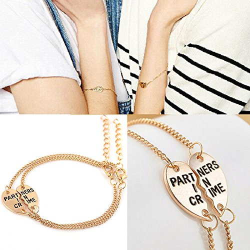 JETTINGBUY Best Friends Split Heart Pendant Bracelet