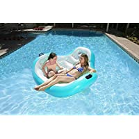 "Swim Central 66"" Aqua Blue White Inflatable Aqua Cradle 2-Person Pool Float"