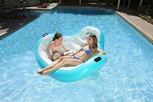 66 cm bleu Aqua et blanc support gonflable 2 personnes-Bleu piscine